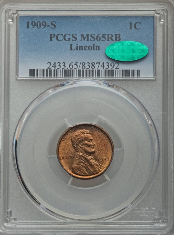 1909-S Lincoln Cent MS65RB PCGS CAC