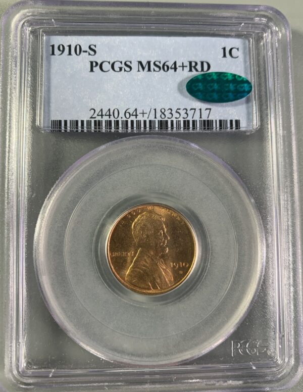 1910-S Lincoln Cent MS64+RD PCGS CAC