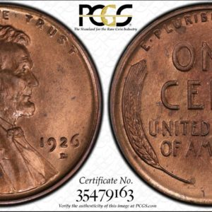 1926-D Semikey Lincoln Cent MS65RB PCGS CAC Mostly Red, Tied for Finest CAC