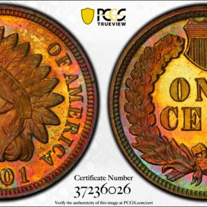1901 Indian Cent PR66+RB PCGS CAC  Gorgeous Toning!