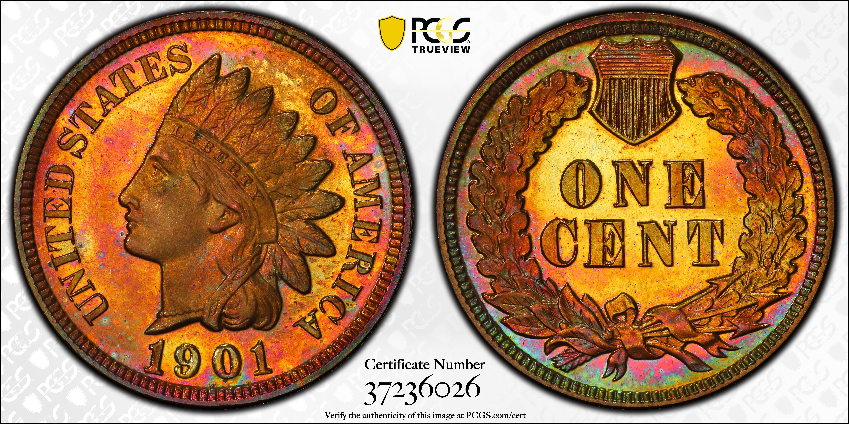 1901 Indian Cent PR66+ PCGS CAC