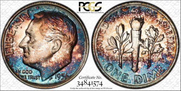 1956 Roosevelt Dime PR67 PCGS 'Blue Mist'.