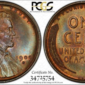 1909-S VDB Cent MS65BN PCGS CAC Glorious, Lustrous Blue-Tinged Key Date