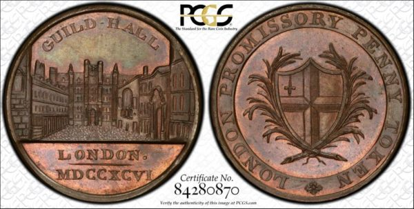 Great Britain 1796 One Penny Conder Token Middlesex DH-42 MS65BN PCGS
