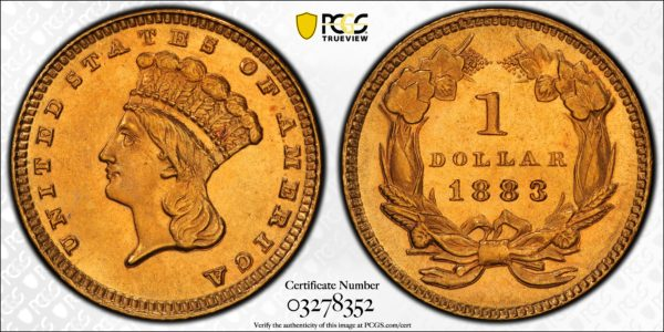1883 Gold Dollar MS64+ PCGS CAC (Prooflike?)