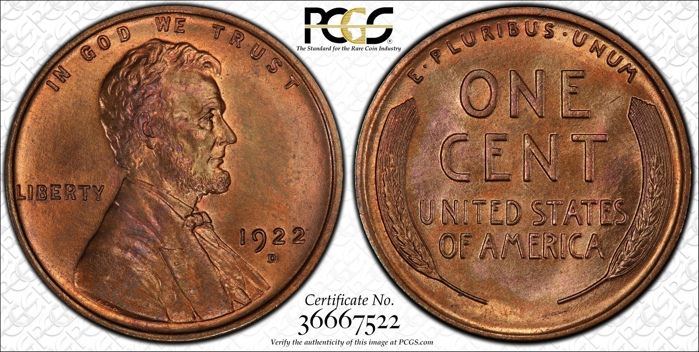 1922-D Lincoln Cent MS65RB PCGS Gem Semikey Date