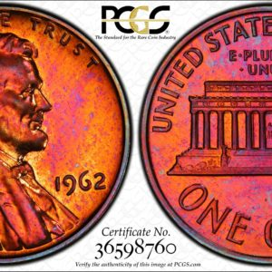 1962 Lincoln Cent Toned PR65RB PCGS 'Rose Window.'