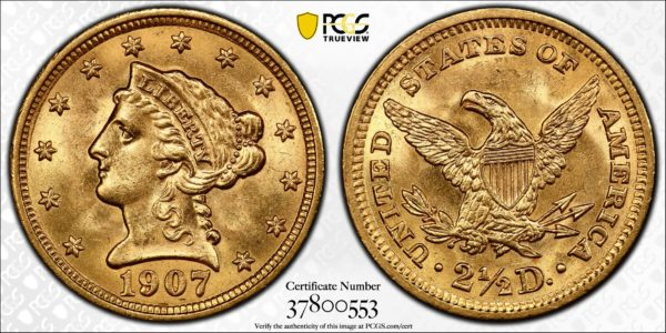 1907 Liberty Head Quarter Eagle MS64 PCGS CAC Last Year of Type