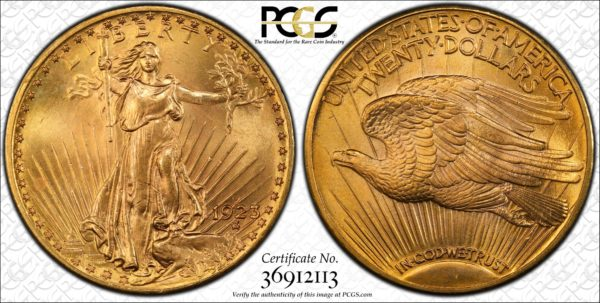 1923-D Saint-Gaudens Twenty Dollar Gold MS65 PCGS Glorious Surfaces