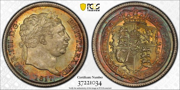 Great Britain One Shilling 1s 1817 Overdate! Gorgeous Toned MS66 PCGS S-3790 var