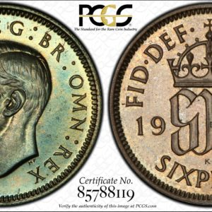 Great Britain 1937 Silver Sixpence 6d Toned PR64 PCGS S-4084, KM-852