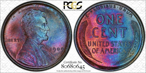 1909 Lincoln Cent, Undergraded, Stunning MS64BN PCGS, Ex: 'Abe's Coloring Book'