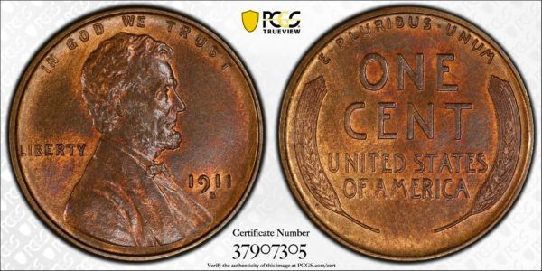 1911-S Lincoln Cent MS65BN PCGS CAC Key S-Mint in Gem Grade