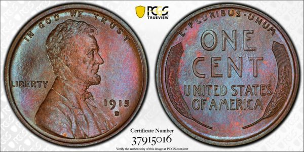 1915-D Lincoln Cent, Phenomenal MS66BN PCGS Pop 3/0, Ex: 'Abe's Coloring Book'