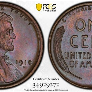 1918-D Lincoln Cent, Stunning MS65BN PCGS, Finest We Have Seen, Ex: 'Abe's Coloring Book'
