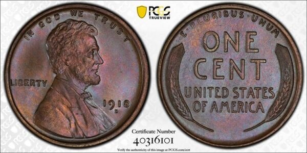1918-D Lincoln Cent MS65BN PCGS CAC