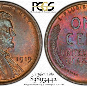 1919 Lincoln Cent, Lovely Toned MS65BN PCGS, Ex: 'Abe's Coloring Book'