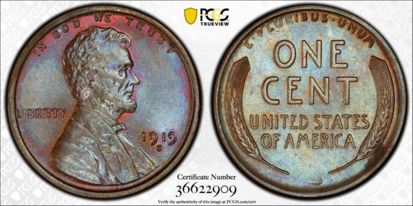1919-S Cent, Appealing MS65BN PCGS, Ex: 'Abe's Coloring Book'