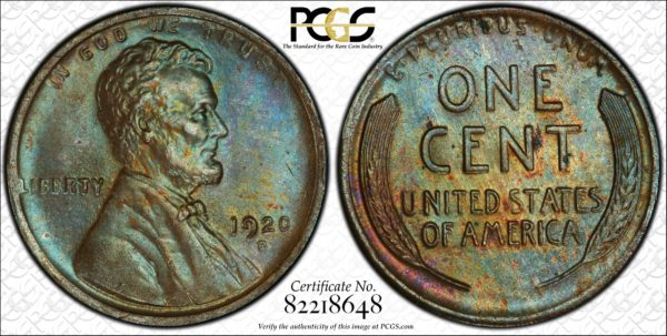 1920-D Cent MS64BN PCGS 'Blue Amber,' Ex: 'Abe's Coloring Book'