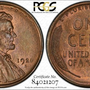 1920-S Cent MS65+BN PCGS, Pop 1/0 Sole Finest, Ex: 'Abe's Coloring Book'