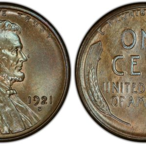 1921-S Cent MS65+BN PCGS CAC Pop 1/0 Sole Finest, Ex: 'Abe's Coloring Book'