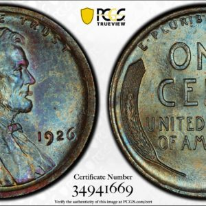 1926 Lincoln Cent MS65BN PCGS, Pop 6/0, Ex: 'Abe's Coloring Book'