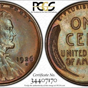 1926-S Key-Date Lincoln Cent, Extraordinary MS65BN PCGS, Pop 12/0, Ex: 'Abe's Coloring Book'
