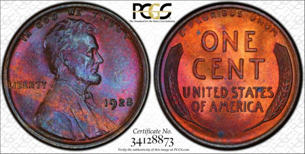 1928 Lincoln Cent Stunning MS65BN PCGS, Pop 5/0, Ex: 'Abe's Coloring Book'