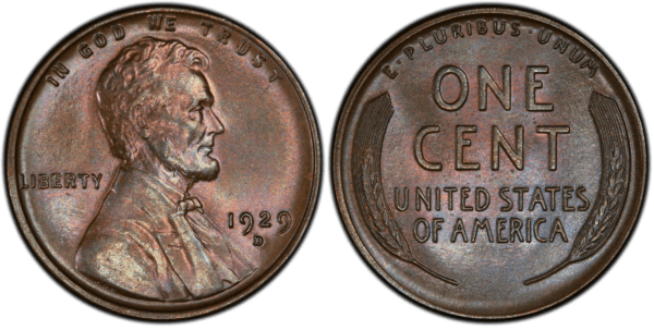 1929-D Cent MS66BN PCGS, Pop 1/0 Extreme Condition-Color Rarity, Ex: 'Abe's Coloring Book'