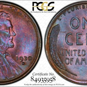 1930-D Cent, Wine-Colored MS65BN Pop 19/0, Ex: 'Abe's Coloring Book'