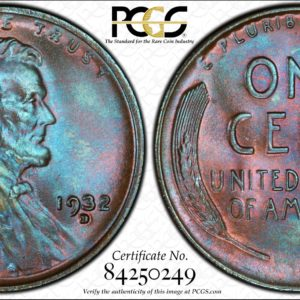 1932-D Cent, Stunning 'Blue Rose' MS66BN PCGS Pop 2/0, Ex: 'Abe's Coloring Book'