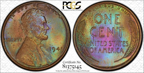 1941 Lincoln Cent, Pretty 'Jade Amber' MS64BN PCGS, Ex: 'Abe's Coloring Book'