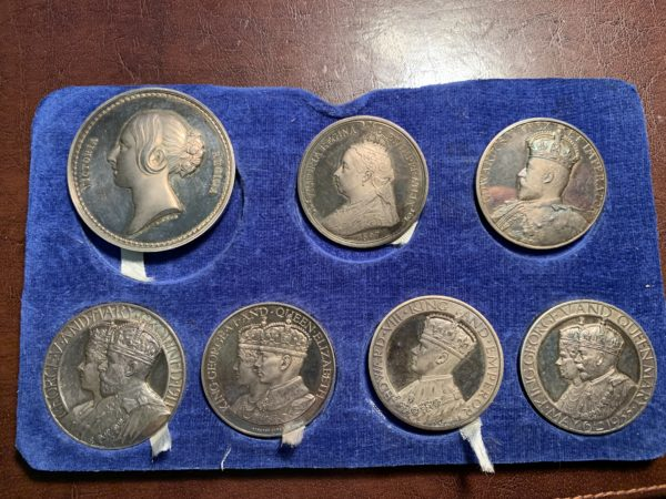John Pinches Seven-Piece British Monarchy Silver Medals Set