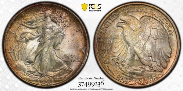 1934 Walking Liberty Half, Gorgeously Toned MS66 PCGS