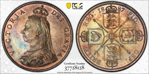 Great Britain 1887 Jubilee Head One Florin S-3925 MS63 PCGS