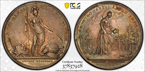 Great Britain 1736 Jernegan Cistern Silver Medal, Betts-169, Eimer-537, AU58 PCGS