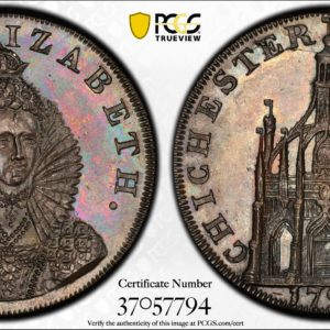 Great Britain 1794 Halfpenny Token, Sussex, Chichester, Queen Elizabeth I-Cathedral DH-15 MS63BN PCGS