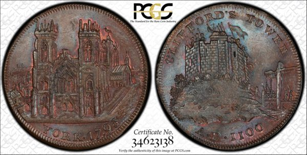 Great Britain 1795 Halfpenny Token, Yorkshire, York DH-63 Cathedral-Cliffords Tower MS64BN PCGS