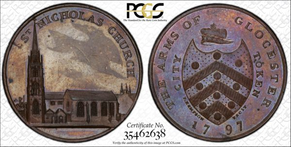 Great Britain 1797 One penny Token, Gloucestershire, Gloucester, St. Nicholas Church DH-6 MS63BN PCGS