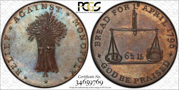 Great Britain (ND) Halfpenny Token, Gloucestershire, Badminton, Sheaf-Balance DH-48 MS64BN PCGS