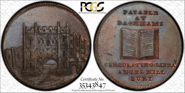 Great Britain ND (ca 1790) Halfpenny Token, Suffolk, Bury, Abbey Gate-Rackhams Book DH-29 MS63BN PCGS