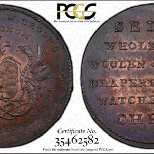 Scotland ND Halfpenny Conder Token, Angusshire, Dundee, Crooms Dragons-Sells MS62BN PCGS