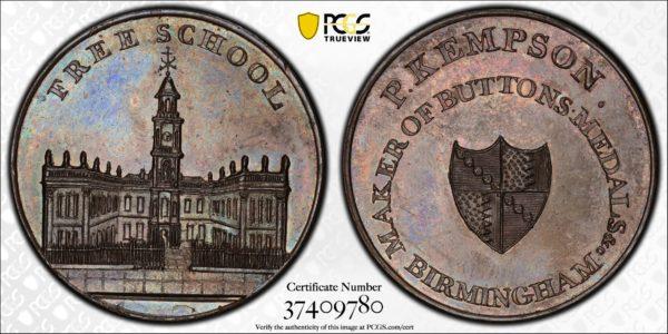 Great Britain ND (ca 1790) Halfpenny Token, Warkwickshire, Birmingham, Free School-Kempson's DH-200 MS64BN PCGS