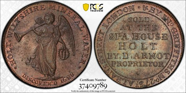 Great Britain ND (ca 1790) Halfpenny Token, Wiltshire, Holt, Herald-Arnot Spa DH-3 MS63BN PCGS