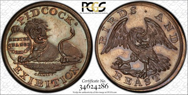 Great Britain ND (ca 1790) Halfpenny Token Middlesex, Pidcock's DH-414 MS64+BN PCGS