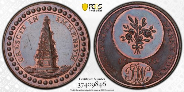 Great Britain 1796 One Penny Token, Warwickshire, County, Bouquet-Obelisk DH-25 MS64BN PCGS