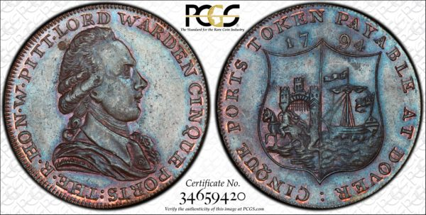 Great Britain 1794 Halfpenny Token Kent, Dover, Cinque Ports DH-16 MS65BN PCGS
