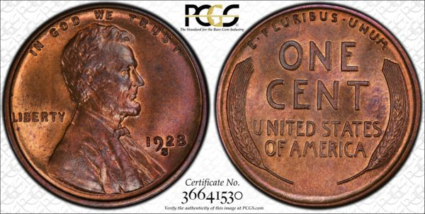 1928-S Lincoln MS64RB PCGS, Better Date, Better Than the Trueview