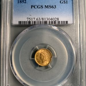 1852 Gold Dollar, Golden-Orange MS63 PCGS