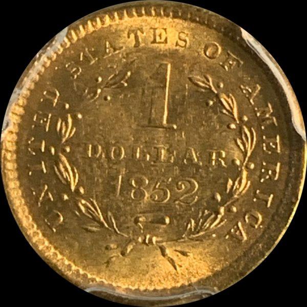 1852 Gold Dollar, Golden-Orange MS63 PCGS